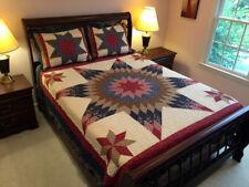 Country Prairie Star 3pc Queen Quilt Set : Cotton 8 Point Floral Farmhouse