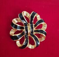 Vintage 1980s Designer Signed NAPIER Black & Gold Enamel BROOCH Pin Jewellery