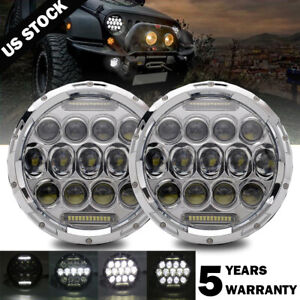 Pair 7 Inch Round LED Headlights Chrome HI-LO for Chevy C10 Camaro Pickup Truck