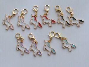 Set 10 Stitch Markers UNICORNS Mixed,Gold Plated Knitting,Crochet, Charms etc