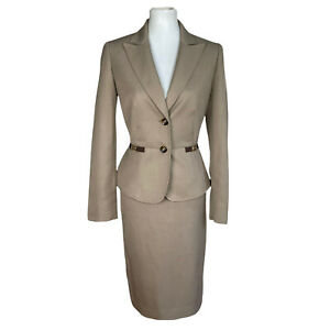 New TAHARI Women 2PC Tortilla Polyester Lined Single Breasted Skirt Suit Size 4