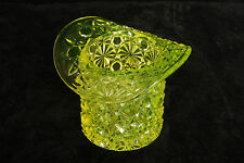 DUNCAN GLASS VASELINE CANARY DAISY & BUTTON TOP HAT TOOTHPICK HOLDER EAPG