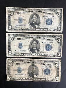3 - $5.00 Silver Certificates 3 notes 1934 - Old Money