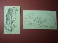 Charles-Émile Jacque 2 Original Drawings of Sheep French Barbizon School