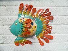 Garden Wall Art Metal Tropical Fish Garden Ornament - Blue Face