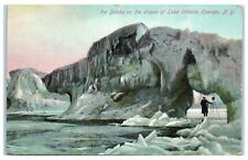 Early 1900s Ice Banks on the Shores of Lake Ontario, Oswego, NY Postcard