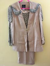 Milano Tan/Gold Skirt Suit w/ Animal Print Scarf 18W EUC