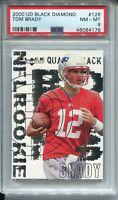 2000 Black Diamond Football #126 Tom Brady Rookie Card RC Graded PSA NM Mint 8