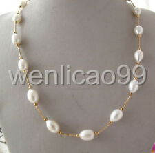"""White 11-13MM Drip Freshwater Pearl Tin Cup Necklace 14K GP 20"""""""