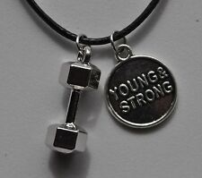 Dumbbell Young & Strong Charm Necklace Bodybuilding Muscle Crossfit Gym Workout