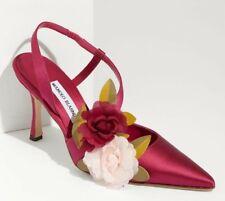 3d93e385 Nuevo Manolo Blahnik Oppureta Flores Rosa Satinado Zapatos de Noche 39.5 9