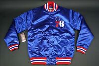 MITCHELL & NESS NBA PHILADELPHIA 76ers MEN'S SATIN BOMBER JACKET SIZE SMALL