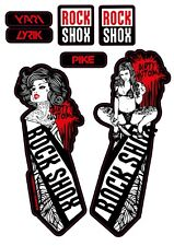 Rock Shox Fork Decals. Pin up illustration.MTB. DJ. Pike. Yari. Lyrik