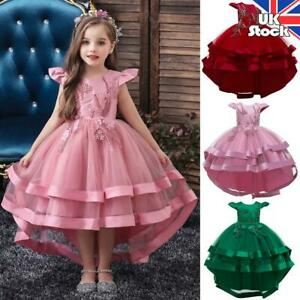 Kids Girls Princess Tutu Tulle Wedding Birthday Party Bridesmaid Dress 3-12Years