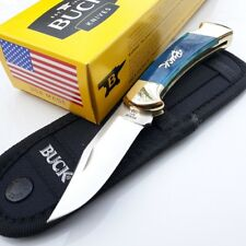 "Buck 112 Pocket Folding Knife Satin Stainless 3"" Blade Smooth Blue Bone Handle"