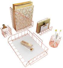 Blu Monaco Rose Gold 5 Piece Wire Desk Organizer Set