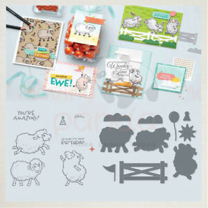 Cute Sheep Metal Cutting Dies and Clear Stamps Scrapbooking
