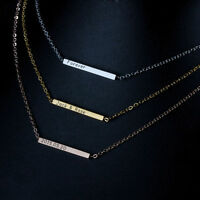 Custom Stainless Steel Name Bar Necklace Name Date Necklaces Pendants Gifts