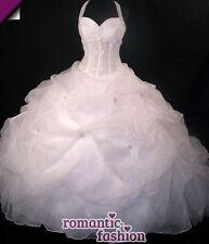 ♥Neckholder Brautkleid Hochzeitskleid in Weiß oder Creme+Größe 34-54+NEU+PL0450♥