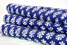 1 Yard Indian Hand Block Print Fabric 100 % Cotton Blue Floral Print Fabric Art