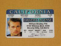 VINTAGE NOVELTY GAG GIFT COOL  SOUVENIR BRAD PIT CALIFORNIA DRIVER'S LICENSE