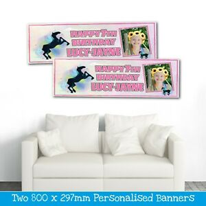2 PERSONALISED BLACK UNICORN PHOTO BIRTHDAY BANNERS - ANY NAME/AGE (800X297MM)