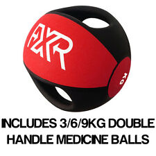 FXR SPORTS RUBBER PROFESSIONAL DOUBLE HANDLE RED MEDICINE BALL 3/6/9KG SET