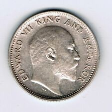 1908 India 1/4 Quarter Rupee silver coin : 2.9g