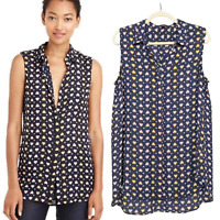 J CREW Women's Size 12 Tall Navy Silk Heart Print Buttoned Collared Tunic