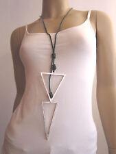 Modekette Bettelkette Damen Hals Kette Leder Lagenlook lang Silber Schwarz L7716