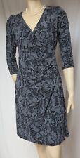 Laura Ashley Jerseykleid 40 Wickel-Optik schwarz grau Blumen Hochzeit Spitze