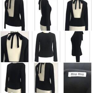 Designer Miu Miu Black Backless Long Sleeve Crepe Fitted Top / Blouse 36 UK 8-10