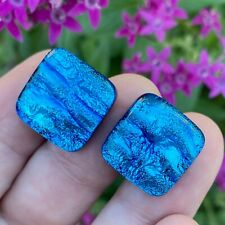 Handmade Blue Cufflinks Fused Dichroic Art Glass Jewelry FREE Shipping 2s