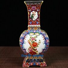 Old Cloisonne Porcelain Handwork Painting Flower and bird Vase W Yongzheng Mark