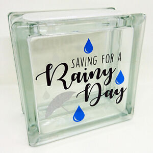 RAINY DAY FUND savings jar small square Glass Money Box. Can be personalised!
