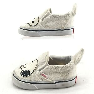 Vans Peanuts Snoopy Classic Slip On Sneakers Toddlers 4 White Faux Fur 721356