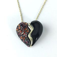 NEW Alexis Bittar BROKEN HEART CHERRY CANDY RED Gold Chain Necklace Pendant $175