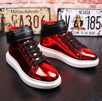 Mens Patent High Top Lace Up Ankle Boots Casual Sneakers Shiny Shoes Skateboards