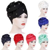 EB_ KF_ Women Solid Color Floral Turban Hat Rhinestone Chemo Cap Bandana Headwra