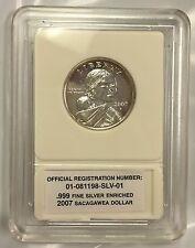 2007 Sacagawea Dollar Presidential Dollar .999 Fine Silver Enriched Coin