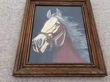 Antique HORSE RUN LIKE WIND Picture Old Master Oil Painting Animals Art Framed