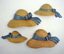 Burwood Wall Decor Straw Hats Summer Gardening Homco Home Interiors set of 4