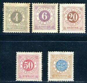 SCHWEDEN 1872 18B,20B,22B,25B,27 ungebraucht etwas unperfekt (C1696
