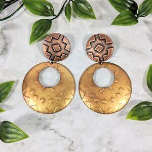 """Vintage Copper & Brass Pierced Sun Designed pierced Earrings 2.75"""" (GREAT)"""