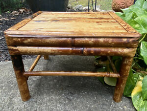 """Vintage Bamboo Rattan Footstool  Ottoman Stand Bench 10"""" X 14.5"""" X 12.5"""""""