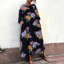 Women Oversized Floral Print Long Maxi Dress Striped Batwing Baggy Shirt Dress