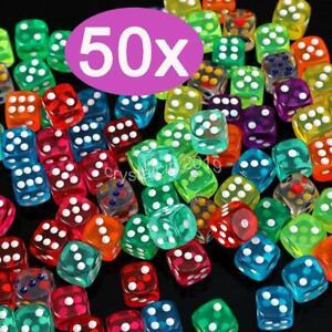 50 Stück Spiel Würfelset Casino 6-seitige Würfel 16mm Bunt Neu&Top