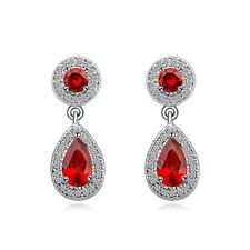 18K WHITE GOLD PLATED & GENUINE CUBIC ZIRCONIA RUBY RED & CLEAR DANGLE EARRING