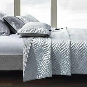 NTBAY Satin King Quilt Coverlet Bed Set, 3 Pieces Geometric Pattern Quilted Beds