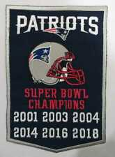 """New England Patriots Super Bowl Champions Banner Patch Dynasty  5"""" X 7"""" Inches"""